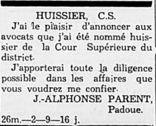 J. Alphonse Parent nommé huissier