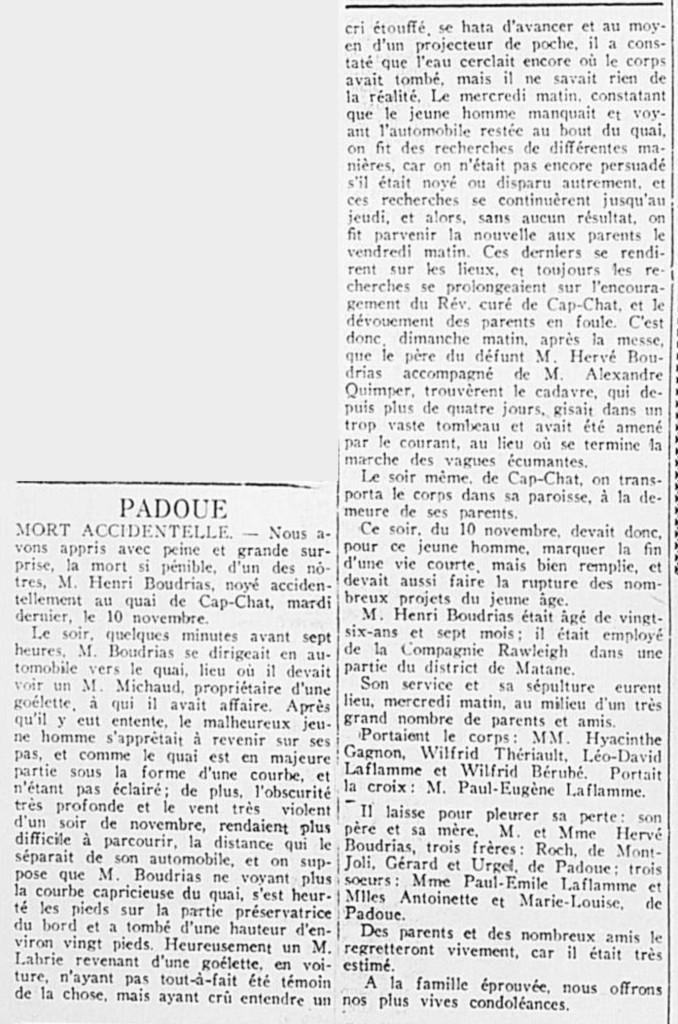 progrès-du-golfe-20-novembre-1931---mort-accidentelle-henri-boudrias