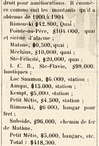 Un montant reçu pour la gare